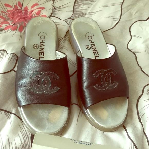 4d84f47b0ea29 CHANEL Shoes - Chanel Rare Leather CC Slides Sandals Rubber Sole